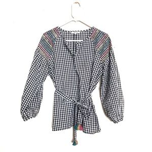 Madewell Gingham Smocked Blouse